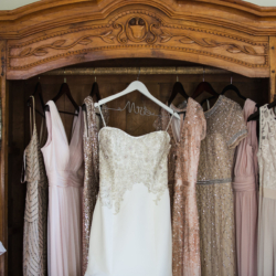 rose gold wedding dresses hanging up at the Duke Mansion in Charlotte NC