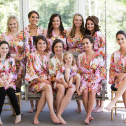 Bridal party getting ready at the Duke Mansion in floral robes