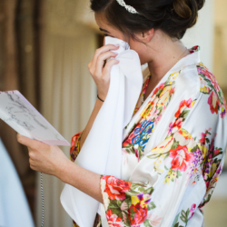Bride getting ready in monogrammed robes at the Duke Mansion in Charlotte, NC