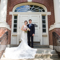 Grace Hill Photography captures a bride and groom on the steps of Bonterra Wine Room after their small family only wedding ceremony