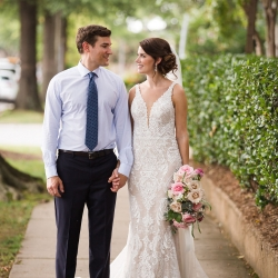 Grace Hill Photography captures a bride and groom during their Uptown Charlotte wedding ceremony at Bonterra Wine Room