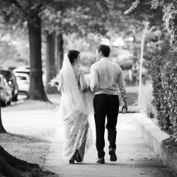 Bride and groom take a stroll for Grace Hill Photography after their intimate wedding ceremony at Bonterra Wine Room