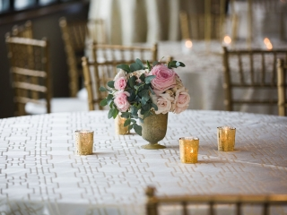 Simple rose centerpieces created by Springvine Design are captured by Grace Hill Photography