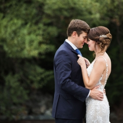 Grace Hill Photography captures a sweet moment between a bride and groom before their wedding at Terrace At Cedar Hill