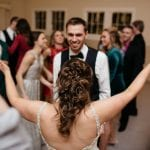 Dancing at a Dairy Barn wedding with music by DJ Jim Wilke
