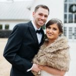 Bride and groom pose before their wedding at the Dairy Barn captured by Grain and Compass