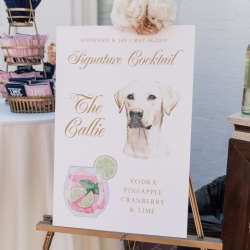 A Spring wedding at Providence Country Club featured a signature cocktail named after the bride and grooms pet dog