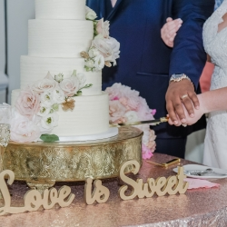Celestial Cakes created a stunning 4 layer cake for a spring wedding at Providence Country Club