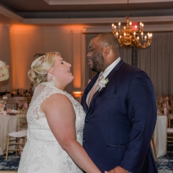 Bride and groom share a sweet moment together during a private last dance to music provided by Split Second Sound