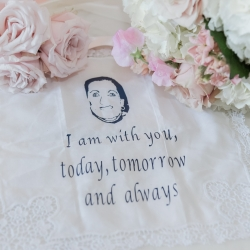 Bride's custom handkerchief shows loving words from her late mother the perfect memento for her spring wedding captured by Green Valley Photography