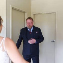 Brides father has a sweet reaction to seeing her dress all captured by Indigo Photography