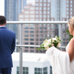 Indigo Photography captures a bride approaching her groom during a sweet first look