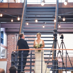 Bride makes a breath taking entrance into her wedding ceremony at Bryon's South End