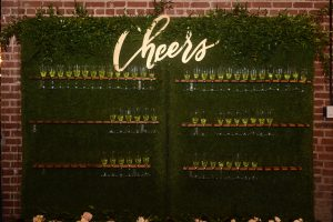 Fun champagne wall was the perfect accent to a fall wedding at Byron's South End
