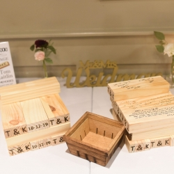 A fun jenga game served as a guestbook for a fall wedding at Byron's South End
