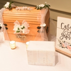 Elegant details arranged by Magnificent Moments Weddings were the perfect touches for a fall wedding at Byron's South End
