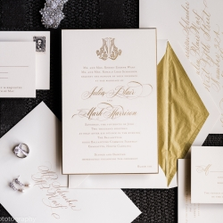 Stunning invitation suite had gold accents and vintage flair for a spring wedding at The Ballantyne Hotel