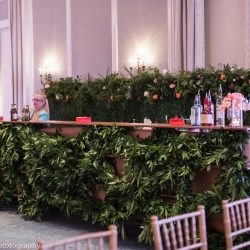 Stunning greenery bar gives off a romantic vibe during a spring wedding at Ballantyne Hotel
