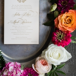 Custom invitation suite had vintage accents for a spring wedding at The Ballantyne Hotel coordinated by Magnificent Moments Weddings
