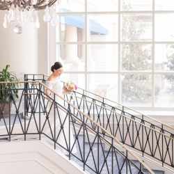 Jamie Lucido photography captures a bride on the stunning staircase of the Ballantyne Hotel