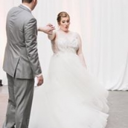 Bride and groom share a sweet first dance to music provided by Carolina DJ Professionals and captured by Jenny Tenney Photography