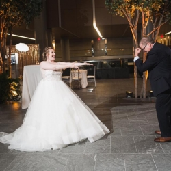 Bride dances with her father to music proved by Carolina DJ Professionals during her reception planned by Magnificent Moments Weddings