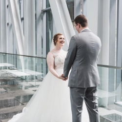 Jenny Tenney Photography captures a first look between a bride and groom during their wedding coordinated by Magnificent Moments Weddings