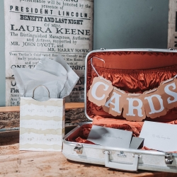 Vintage suitcase as the perfect card box for a travel themed wedding at Sugar Creek Brewery