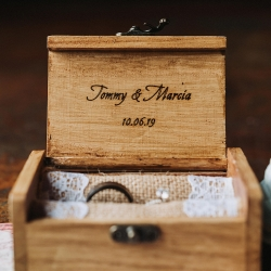Custom ring box makes the perfect addition to a fall wedding ceremony at Sugar Creek Brewery