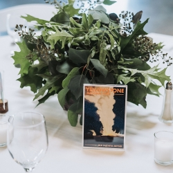 National Park post cards served as table number for a nature themed wedding coordinated by Magnificent Moments Weddings at Triple C Barrel Room