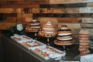 Suarez bakery created fun donut cakes for a dessert display at Triple C Barrel Room