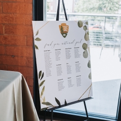 Table seating chart showed off the couples love for national parks during their summer wedding at Triple C Barrel Room