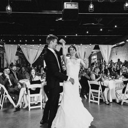 Bride and groom preform their choreographed dance planned by First Dance Charlotte during for their reception at Triple C Barrel Room