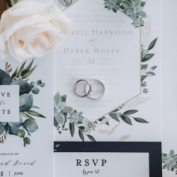 Beautiful invitation suite features greenery accents and gold details for a summer wedding with a nature theme in Charlotte, North Carolina