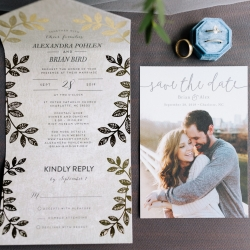 Wedding invitations and save the dates show off the love of a fun couple who married at The Mint Museum Uptown