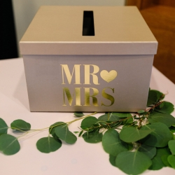 Simple card box was the perfect place for guests to gift the bride and groom during their Uptown Wedding