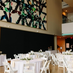 White linens and chairs created a crisp and modern look for an Uptown Wedding at The Mint