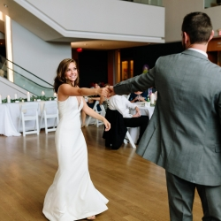Bride and groom share a romantic first dance to music provided by their DJ Split Second Sound