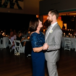 Groom shares a sweet dance with his mother during their fall wedding djed by Split Second Sound
