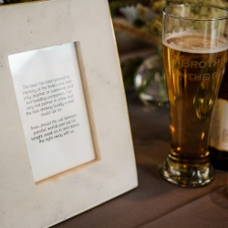 An honorary beer was poured for the brides brother who passed before the wedding but was there in spirit