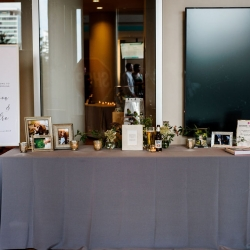 Sweet guest table featured the couples guestbook and pictures to welcome guests to their big day at The Mint Museum Uptown