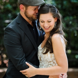 Julia Laible Photography captures a bride and groom on their wedding day in Uptown Charlotte, North Carolina