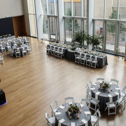 The atrium of The Mint Museum Uptown is the perfect setting for a summer wedding in Charlotte North Carolina