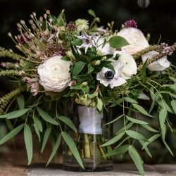Stunning bridal bouquet features lush green accents created by Sarah Grimshaw Designs and captured by Julia Laible Photography