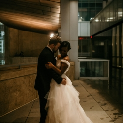 Kelly Meyers Photography captures a bride and groom on the terrace of the Mint during their summer wedding coordinated by Magnificent Moments Weddings