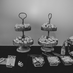 Something Classic creates a tasty display for stations of food during a summer wedding at The Mint