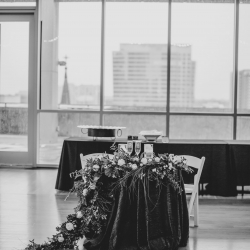 Sweetheart table is the perfect setting for a bride and groom to overlook their summer wedding at The Mint