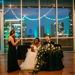 Fun toasts coordinated by Magnificent Moments Weddings are captured by Kelly Meyers Photography during a summer wedding at The Mint