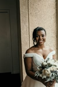 Kelly Meyers Photography captures a bride with hair by Tracy Riggs Salon and makeup by Monica Nicole Beauty