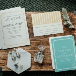 Wedding invitations for a summer wedding at The Mint are the perfect subject for Kelly Meyers Photography